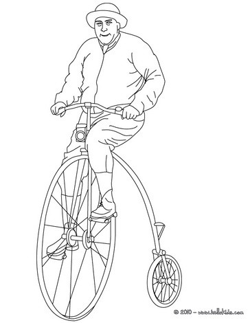 Biker riding an old bike coloring pages for Bike riding coloring pages