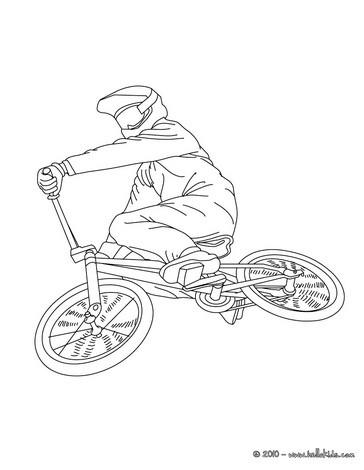 Racing Bike BMX Biker Side View Coloring Page