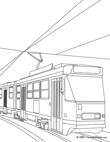 Tramway color in coloring page