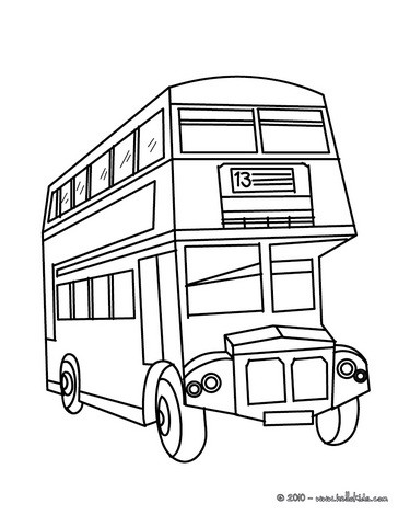 English Double Decker Coloring Pages