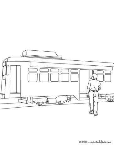 Tramway passenger coloring page