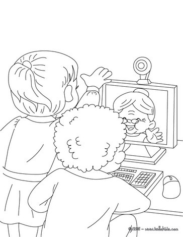 Chat with grandma coloring page