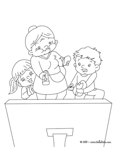 Grandma playing wii coloring page