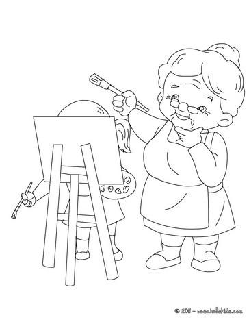 Grandma painting coloring page
