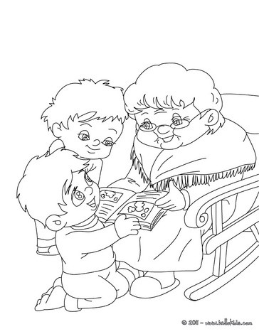 Grandma reading story coloring pages for Grandma coloring pages