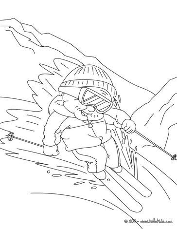 Grandma skiing coloring page