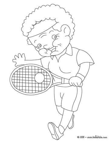 Grandma playing tennis coloring page