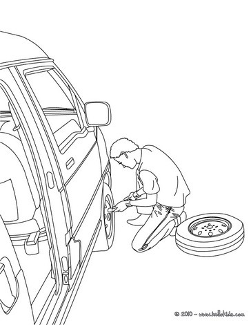 Man changing the wheel coloring page