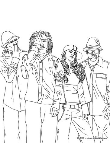 Fun The Black Eyed Peas Coloring Pages Hellokids Com