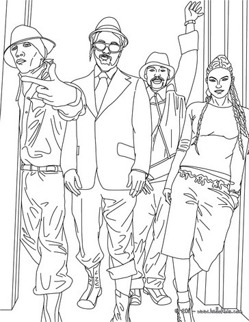 Hip hop the black eyed peas coloring pages for Hip hop coloring pages