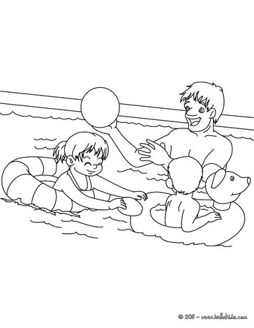 Dad playing with kids coloring page