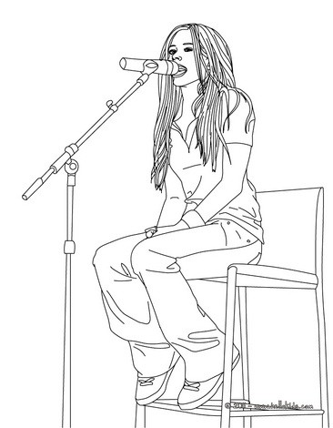 Avril lavigne singer coloring pages for Singer coloring pages