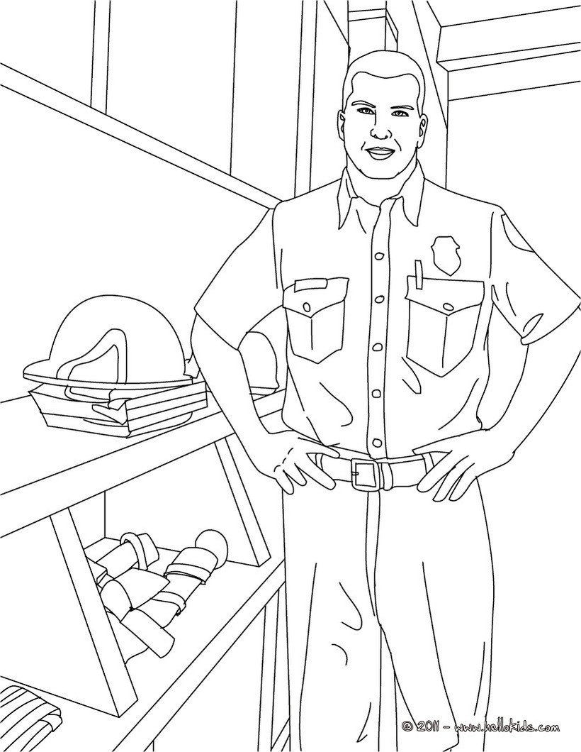 fireman in uniform coloring pages hellokids com