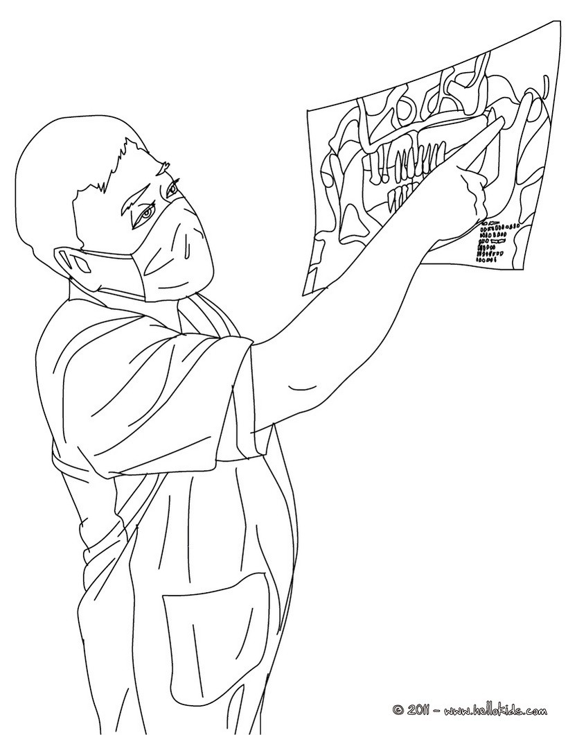 teeth radiography and dentist coloring page