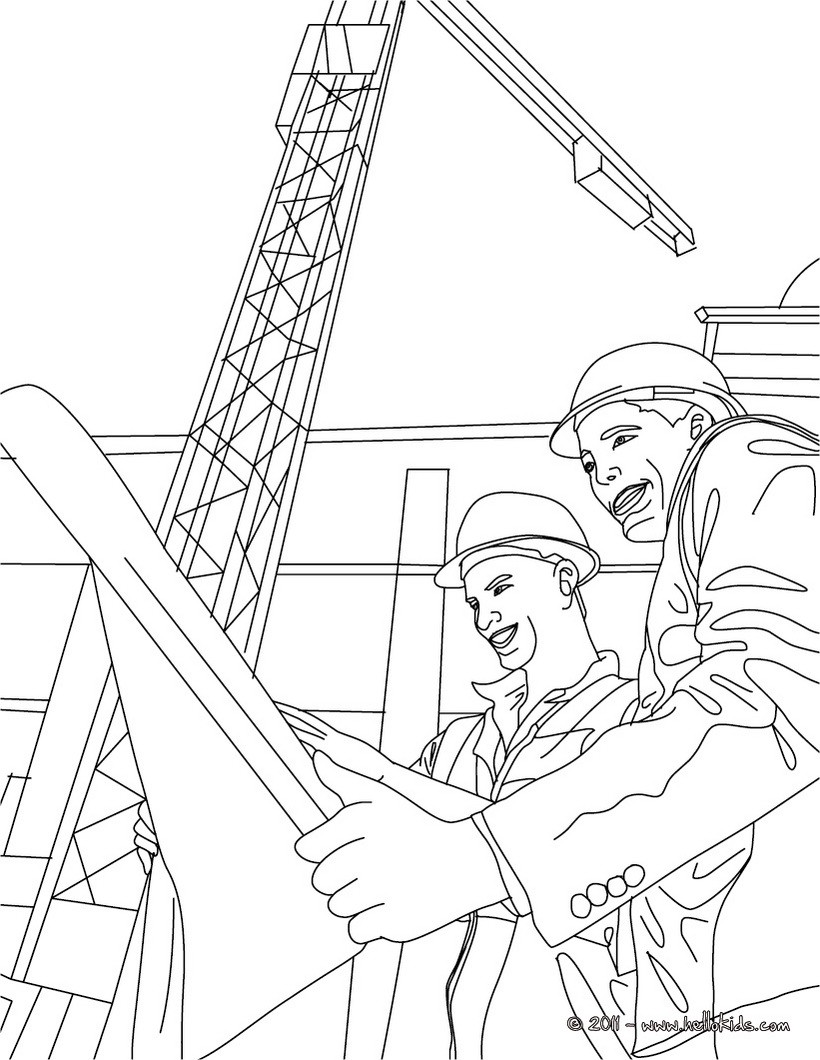 Coloring pages reading - Architect Reading A Plan With The Work Foreman Coloring Page