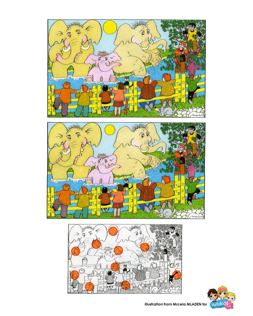 Find the differences online games - ELEPHANT spot the differences kid ...