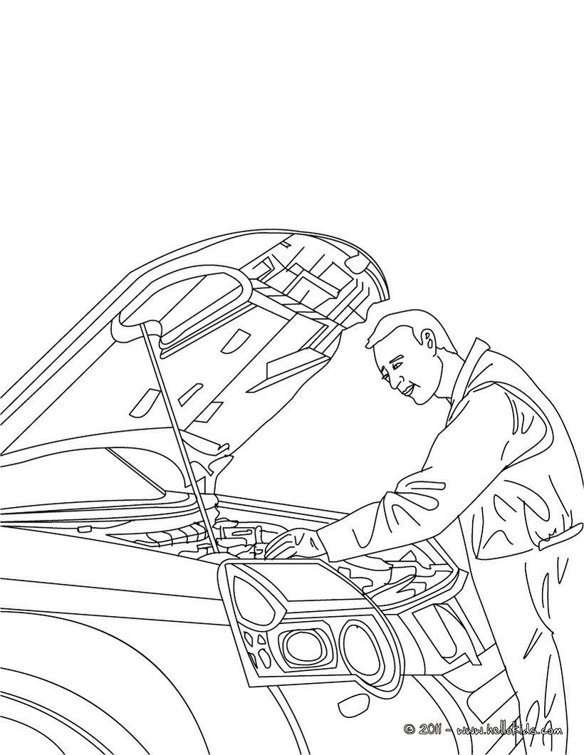 Coloring book jobs - Mechanic Checks A Truck Motor Mechanic Job Coloring Page Coloring Page Job Coloring Pages Mechanic Coloring Pages