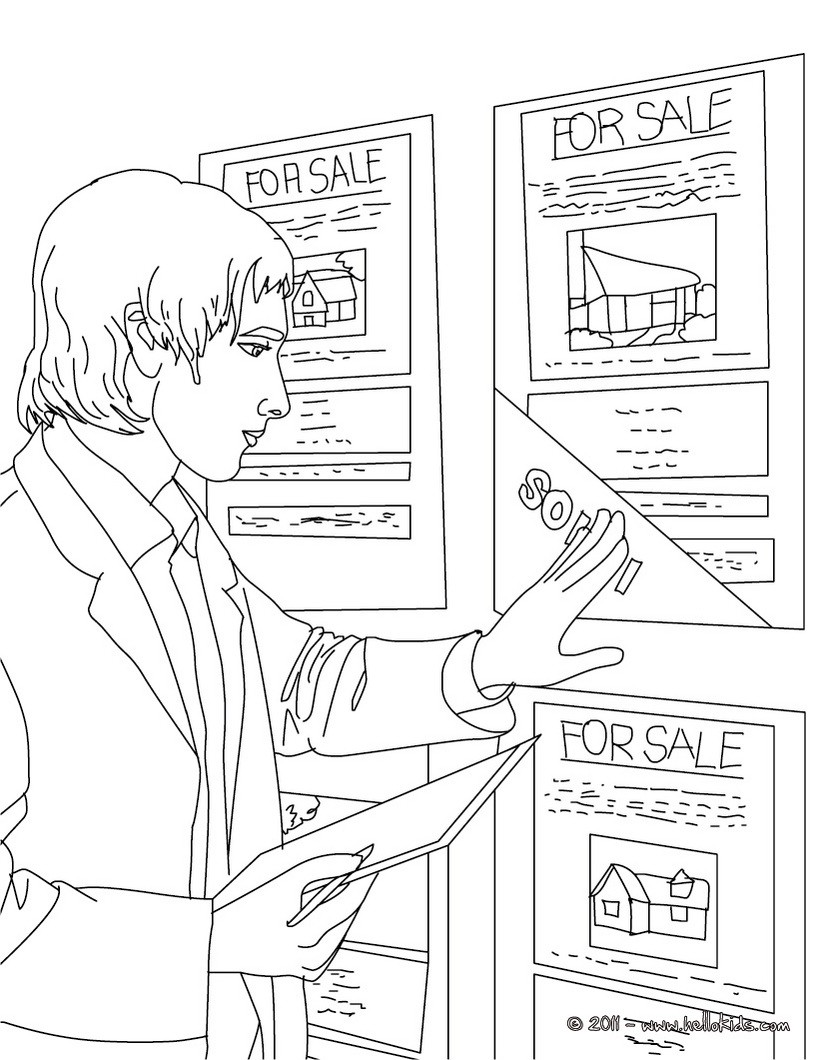 Real estate agent up dates real estate ads coloring page
