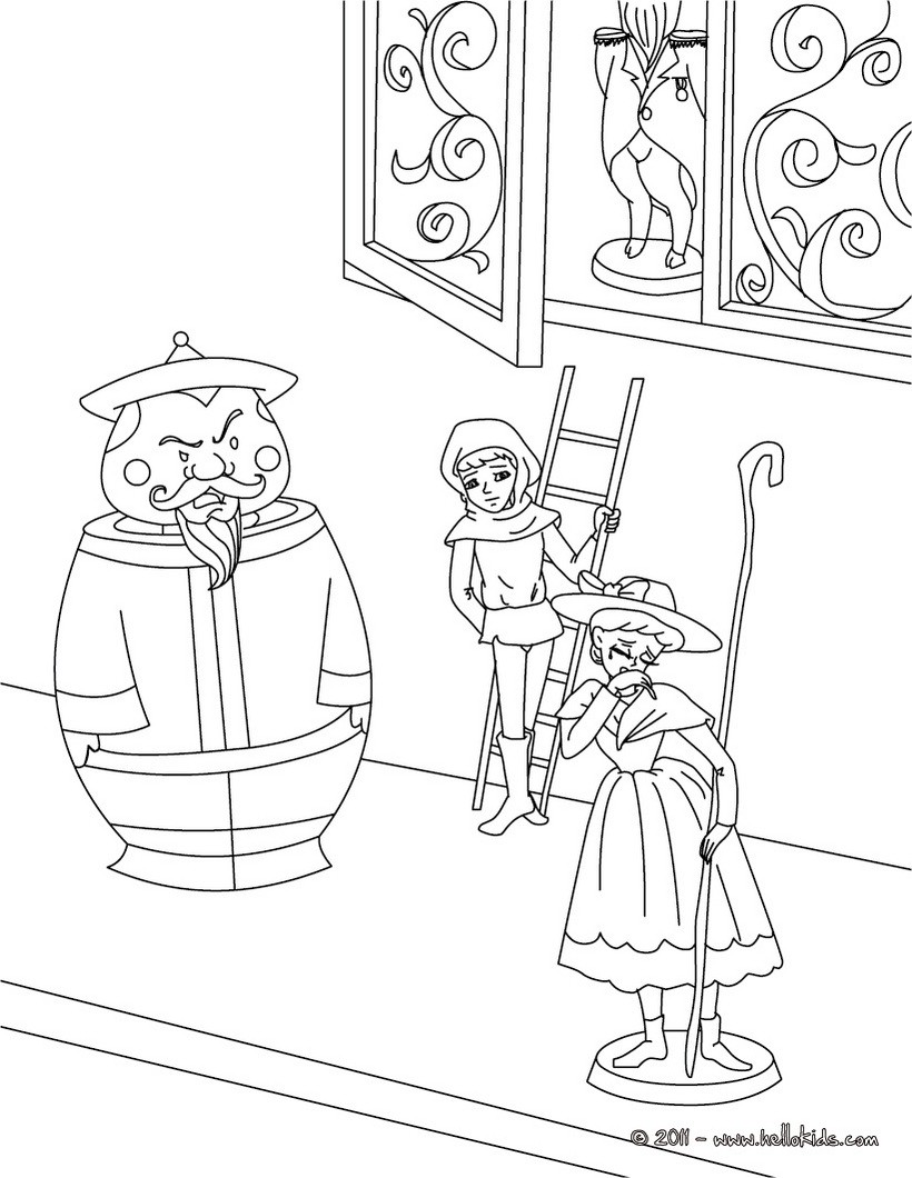 The Shpherdess and the Chimney Sweep coloring page
