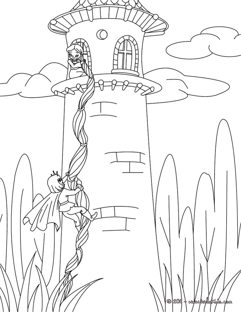 rapunzel grimm tale coloring pages  hellokids