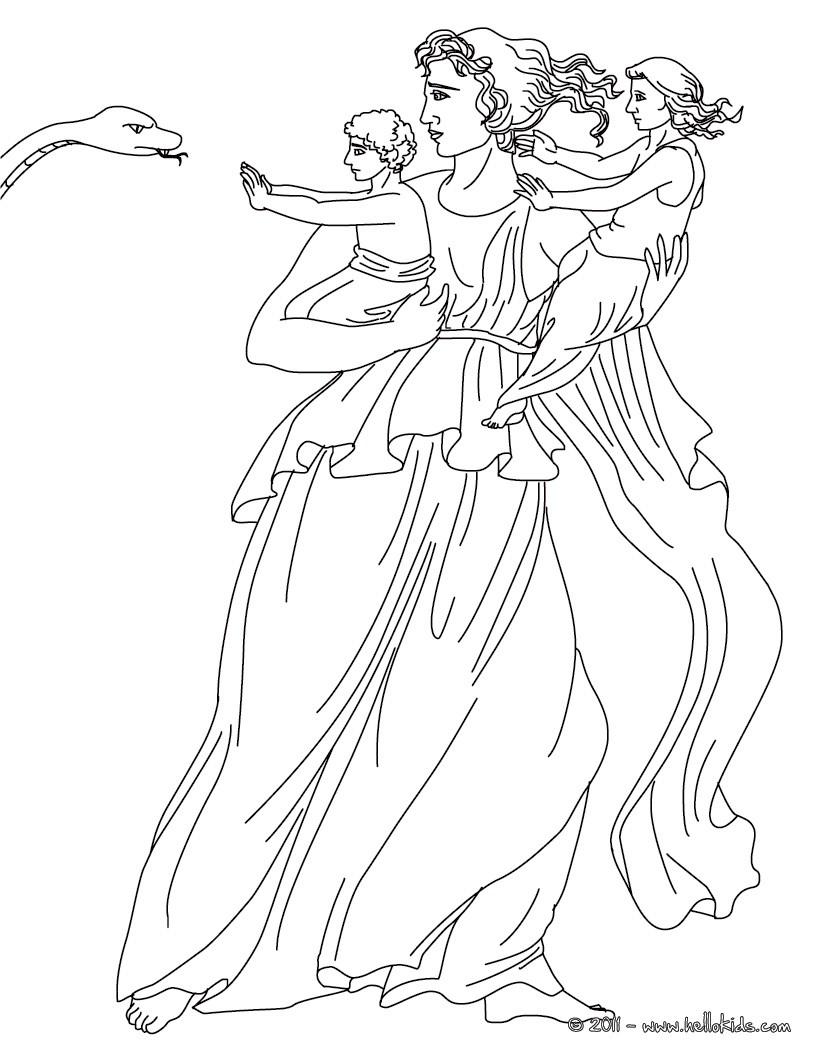 LETO the Greek titan goddess of motherhood coloring page