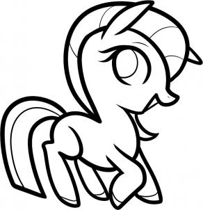 here is what the drawing of the cute little pony looks like when you are all done grab your coloring tools and begin having even more fun as you add some