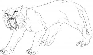 saber tooth coloring pages | How to draw how to draw a saber tooth tiger - Hellokids.com