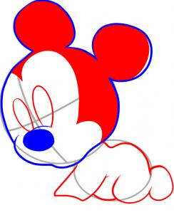 how to draw baby mickey mouse step by step