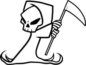 here is the last drawing step now you can go ahead and color in your drawing you now have an awesome drawing on the grim reaper