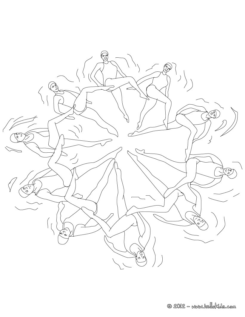 DUETS FREE ROUTINE synchronized swimming coloring page