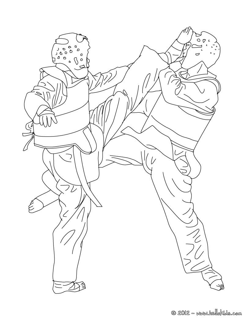 taekwondo combat sport coloring pages hellokids com