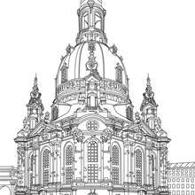 DRESDEN FRAUENKIRCHE coloring page - Coloring page - COUNTRIES Coloring Pages - GERMANY coloring pages - FAMOUS PLACES IN GERMANY coloring pages