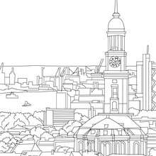 HAMBURG PROTESTANT CHURCH OF ST. MICHAELIS coloring page - Coloring page - COUNTRIES Coloring Pages - GERMANY coloring pages - FAMOUS PLACES IN GERMANY coloring pages