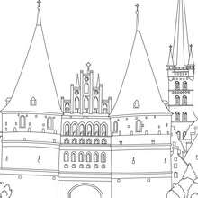 MEDIEVAL HOLSTENTOR GATE OF LUBECK cocloring page - Coloring page - COUNTRIES Coloring Pages - GERMANY coloring pages - FAMOUS PLACES IN GERMANY coloring pages