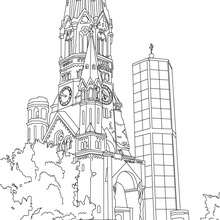 KAISER WILHELM MEMORIAL CHURCH TOWER in Berlin coloring page - Coloring page - COUNTRIES Coloring Pages - GERMANY coloring pages - FAMOUS PLACES IN GERMANY coloring pages