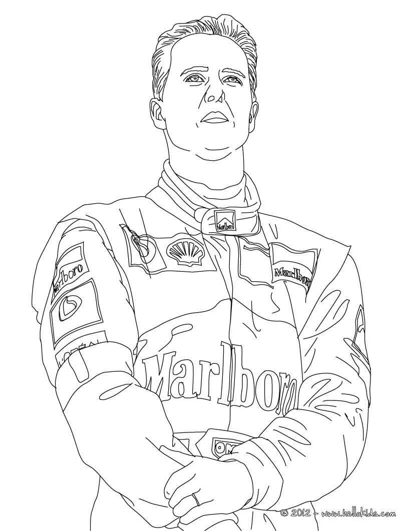 Michael Schumacher Famous German F1 Champion Coloring