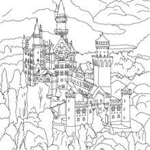 NEUSCHWANSTEIN CASTLE coloring page - Coloring page - COUNTRIES Coloring Pages - GERMANY coloring pages - FAMOUS PLACES IN GERMANY coloring pages