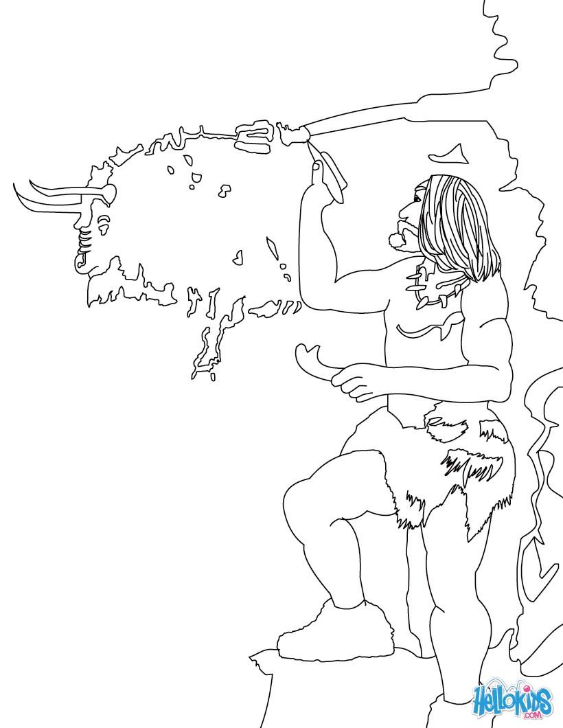Workbooks prehistory worksheets : Neanderthal man coloring pages - Hellokids.com