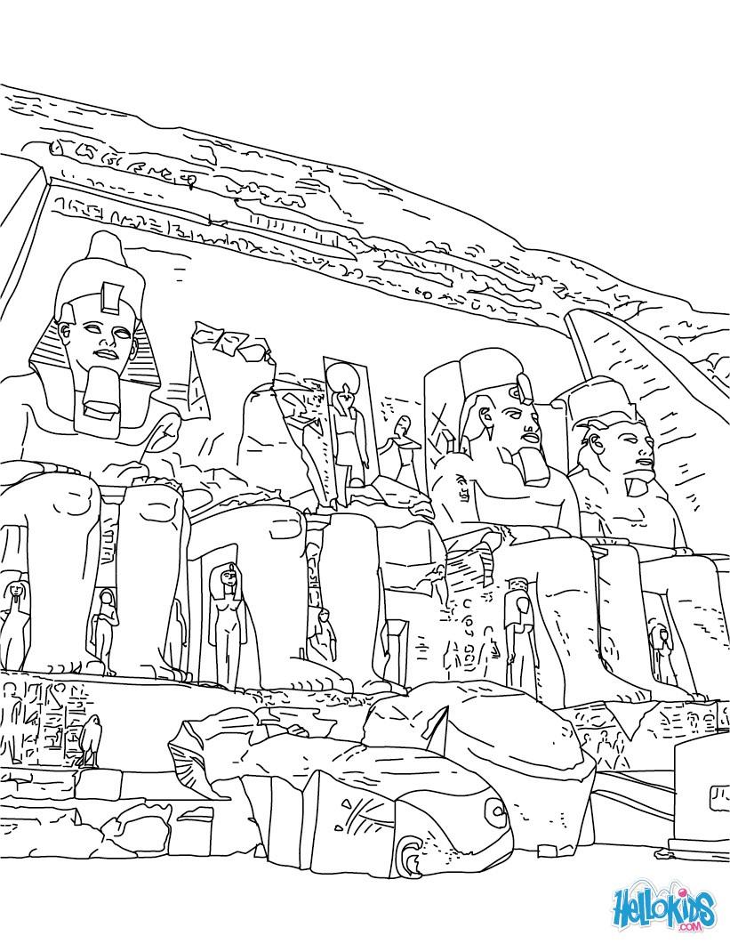Abu Simbel Temple Coloring Pages Hellokids Com