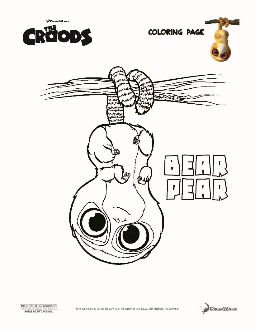 Bear pear the croods coloring pages for The croods coloring pages
