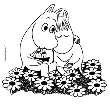 MOOMIN IN LOVE to color online - Coloring page - CHARACTERS coloring pages - CARTOON CHARACTERS Coloring Pages - MOOMIN coloring pages