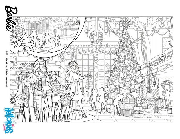 Barbie's christmas tree coloring pages - Hellokids.com