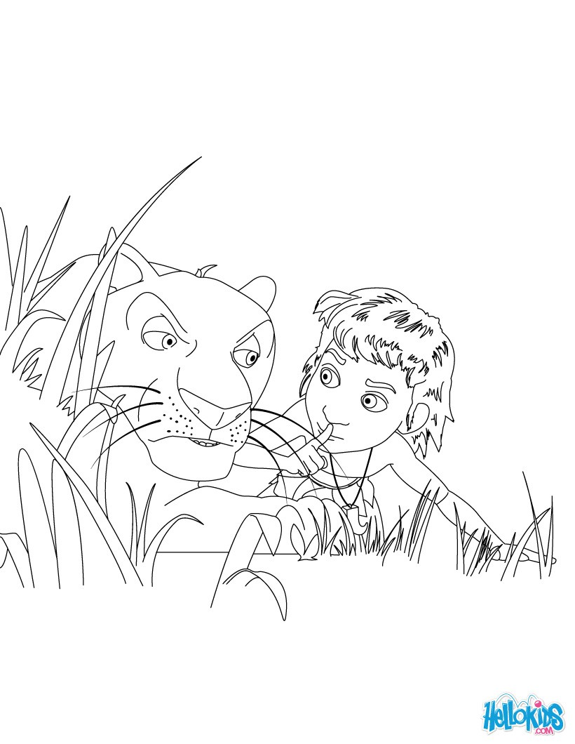 Mowgli and bagheera coloring pages - Hellokids.com