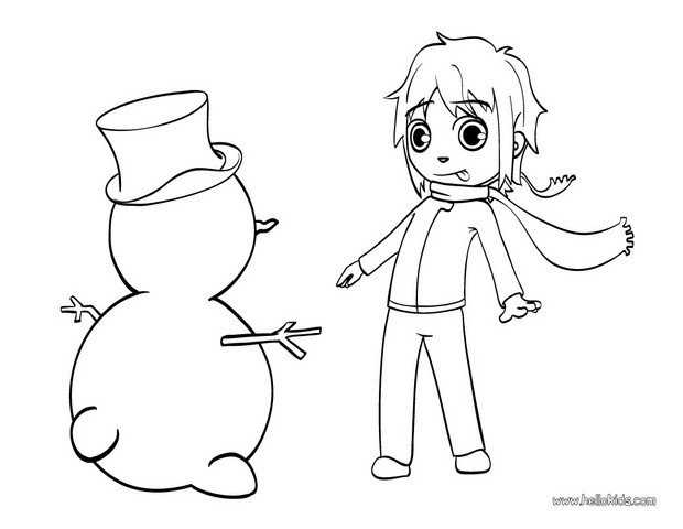 Mat with snowman coloring page