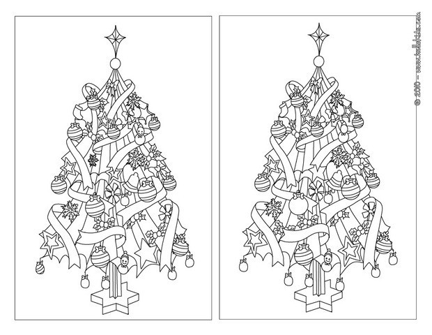 Number Names Worksheets spot the difference pictures for adults : Find the differences online games - Xmas tree shines bright