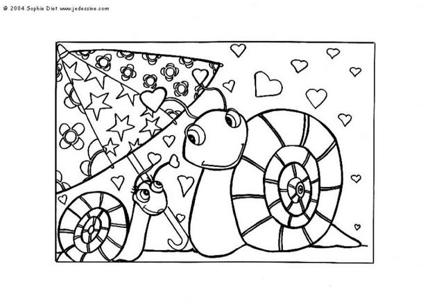 Lovely snails coloring page