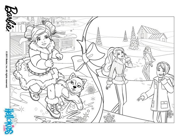 Barbie snowy christmas coloring pages - Hellokids.com