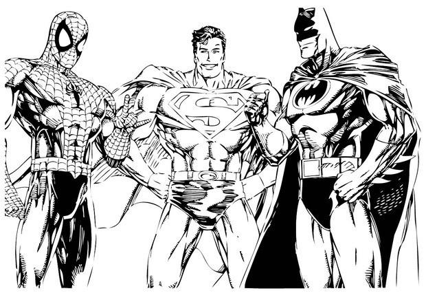 Batman, spiderman and superman coloring pages - Hellokids.com