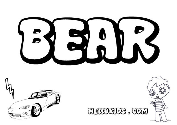 It's just a graphic of Declarative Lname Bear Coloring Page