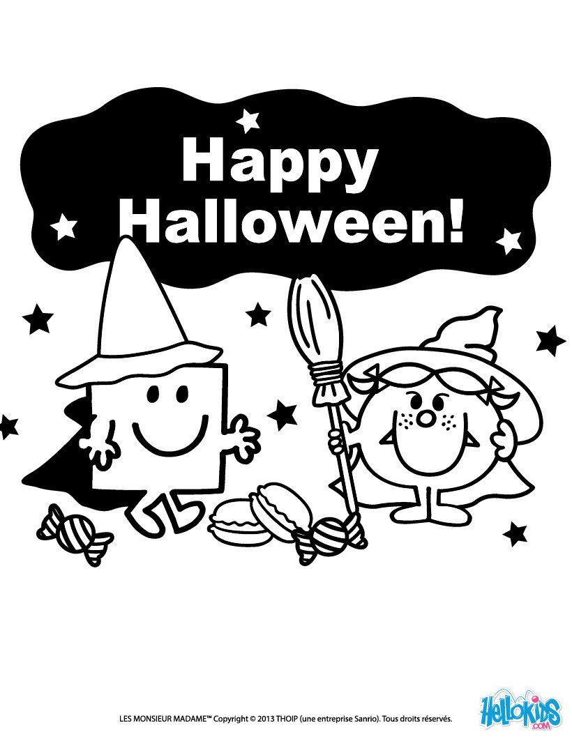 Mr tickle\'s trick or treat coloring pages - Hellokids.com
